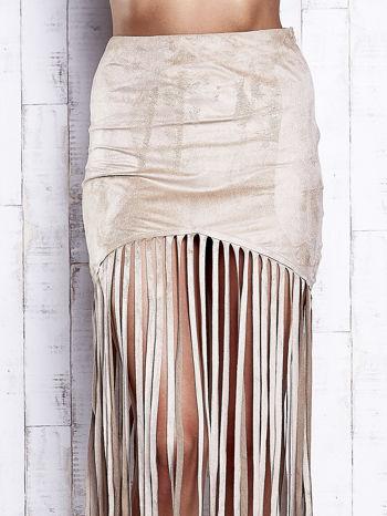 Beżowa zamszowa spódnica z frędzlami                                  zdj.                                  5