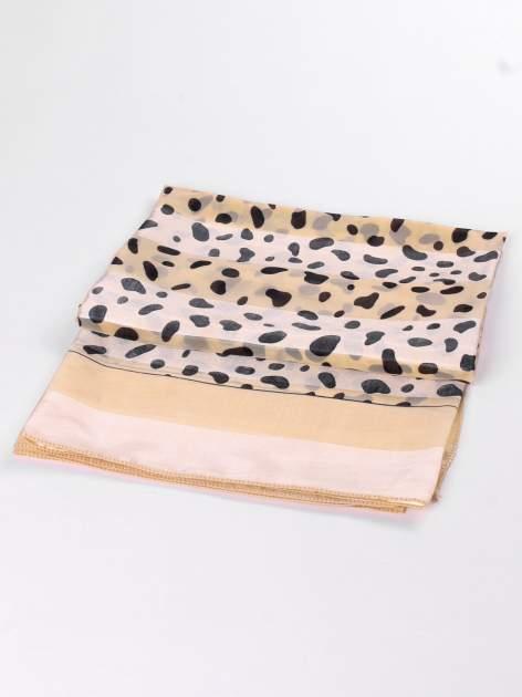 Beżowa-złota chusta apaszka we wzór dalmatyńczyk                                  zdj.                                  3