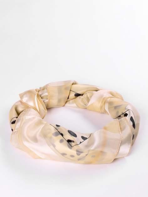 Beżowa-złota chusta apaszka we wzór dalmatyńczyk                                  zdj.                                  2