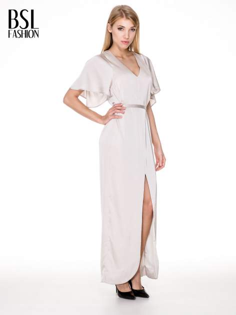 Beżowa zwiewna sukienka maxi z satyny