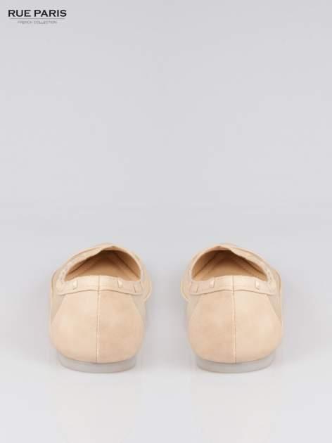 Beżowe baleriny Crystal leather z siateczką i ćwiekami                                  zdj.                                  3