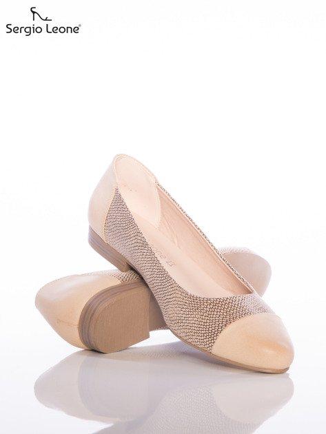 Beżowe baleriny Sergio Leone z efektem glitter                              zdj.                              4