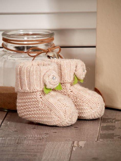 Beżowe buciki dziewczęce z kwiatuszkami                              zdj.                              3