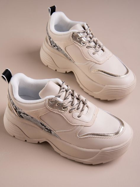 Beżowe buty sportowe na podwyższeniu z błyszczącą wstawką i zwierzęcym motywem                              zdj.                              5