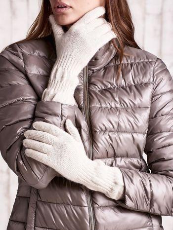 Beżowe długie rękawiczki z przeszywanym ściągaczem                                  zdj.                                  1
