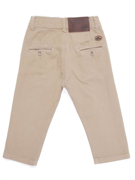 Beżowe materiałowe spodnie dla chłopca                               zdj.                              3