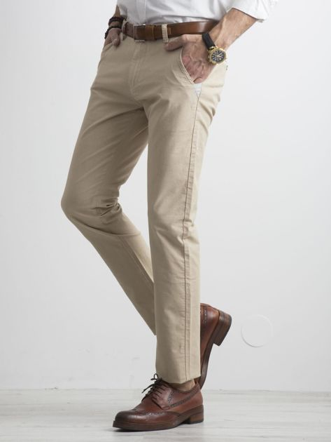 Beżowe męskie spodnie chino                              zdj.                              3