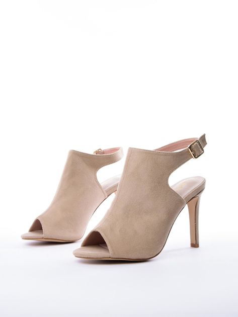 Beżowe sandały SABATINA z głęboko wyciętą cholewką                               zdj.                              3