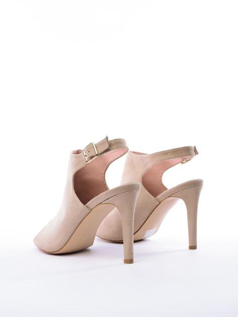Beżowe sandały SABATINA z głęboko wyciętą cholewką                               zdj.                              4