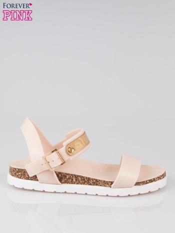 Beżowe sandały damskie z blaszką                                  zdj.                                  1