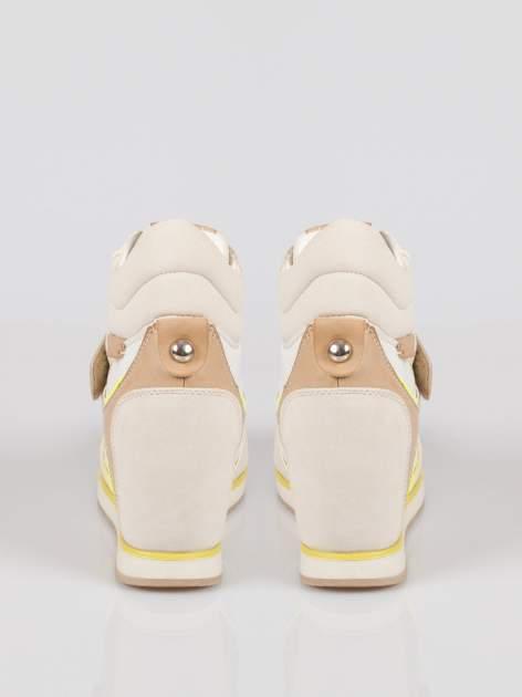 Beżowe sneakersy damskie w stylu casual                                  zdj.                                  3