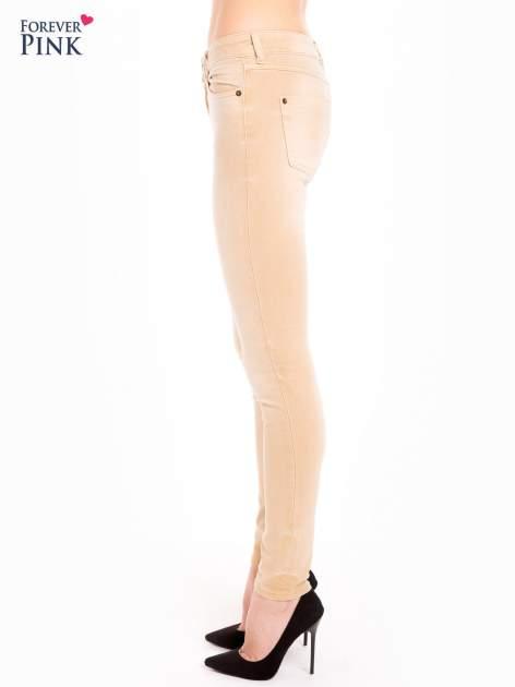 Beżowe spodnie jeansowe super skinny                                  zdj.                                  2