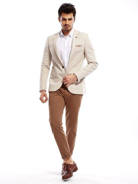 Beżowe spodnie męskie chinos                                  zdj.                                  7