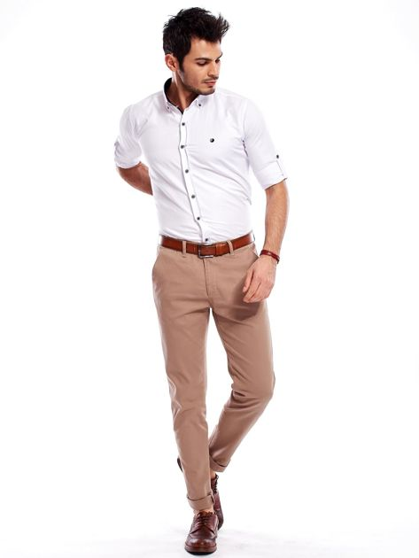 Beżowe spodnie męskie chinosy                              zdj.                              10