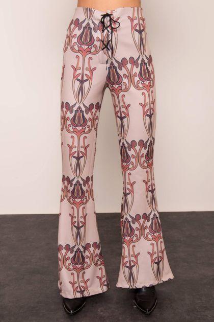 Beżowe spodnie z nadrukiem BSL