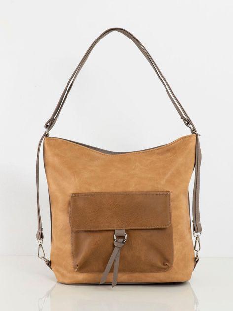 Beżowo-camelowa torba z kieszenią