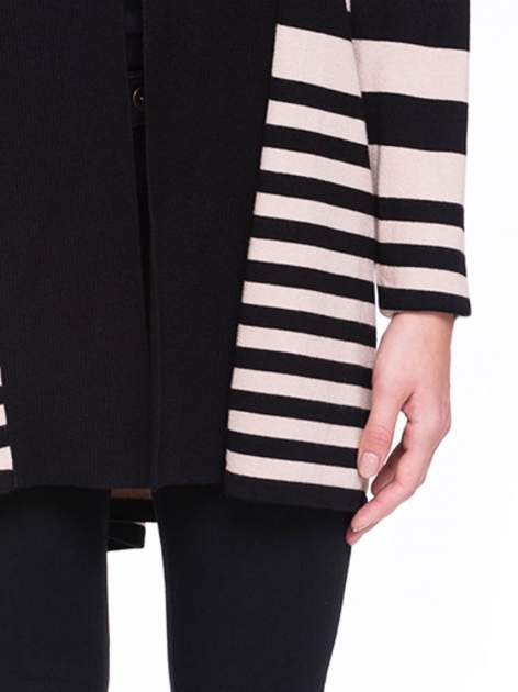 Beżowo-czarny pasiasty otwarty sweter kardigan z prążkowanym kołnierzem                                  zdj.                                  6