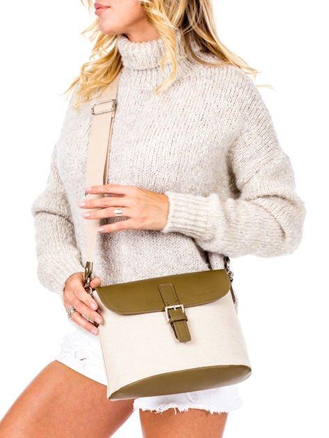Beżowo-khaki materiałowa torba z klapką