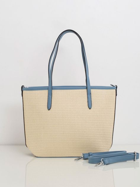 Beżowo-niebieska pleciona torebka