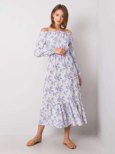 Beżowo-niebieska sukienka hiszpanka Alodie RUE PARIS