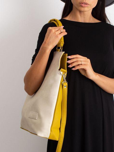 Beżowo-oliwkowa torba damska                              zdj.                              3