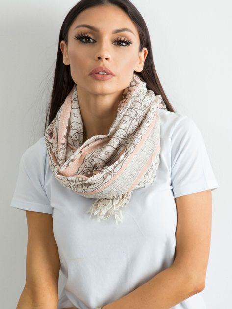 Beżowo-różowa bawełniana chusta we wzory