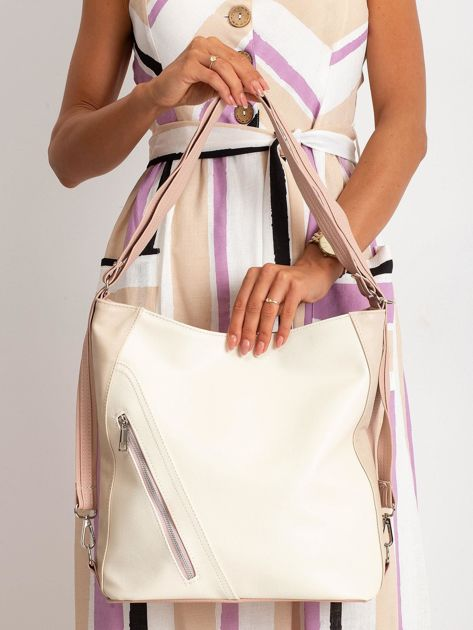 Beżowo-różowa torba city bag                              zdj.                              1