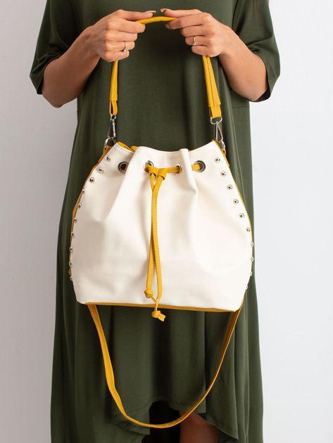 Beżowo-żółta torba ze ściągaczem                              zdj.                              5