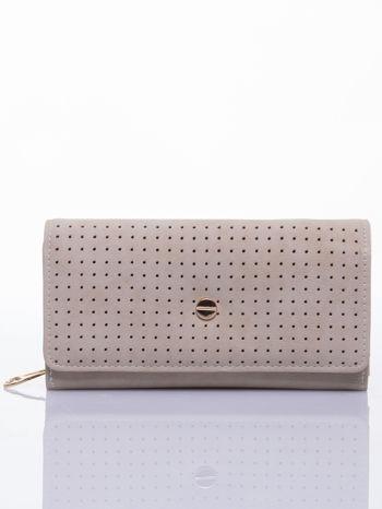 Beżowy ażurowany portfel ze złotym suwakiem