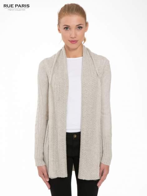 Beżowy ażurowy długi sweter typu kardigan