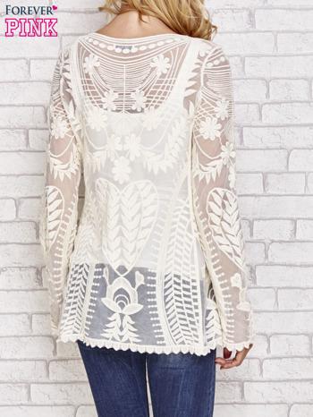 Beżowy ażurowy sweterek mgiełka                                  zdj.                                  4