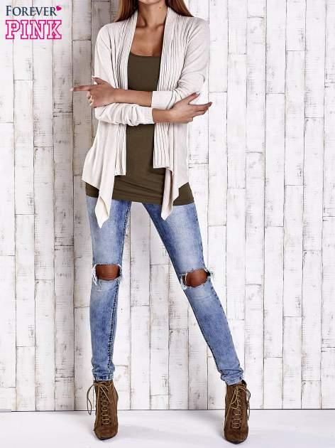 Beżowy długi sweter z wykończeniem w prążki                                  zdj.                                  2
