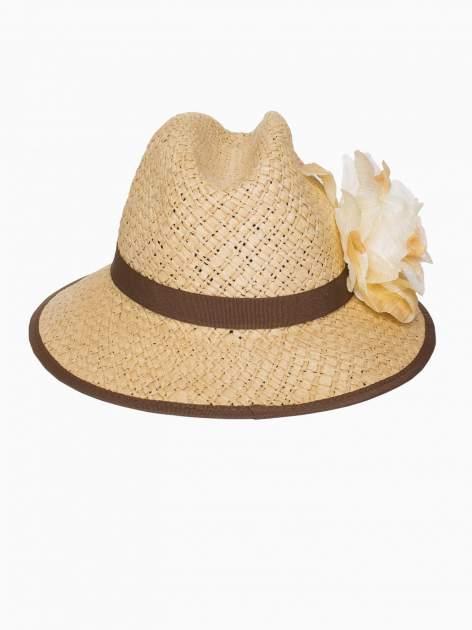 Beżowy kapelusz słomiany z dużym rondem i dużym kwiatem                                  zdj.                                  4