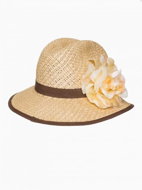 Beżowy kapelusz słomiany z dużym rondem i dużym kwiatem                                  zdj.                                  6