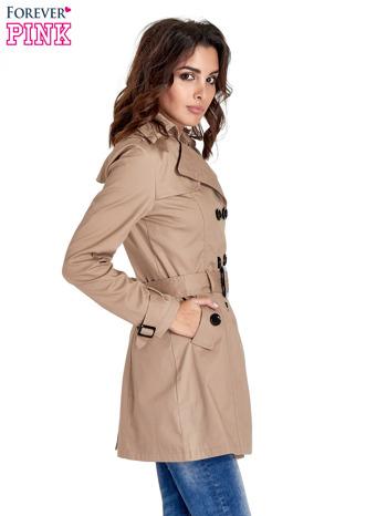 Beżowy klasyczny płaszcz typu trencz                                  zdj.                                  3