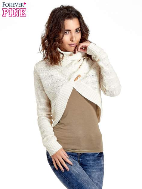 Beżowy krótki sweter narzutka z kołnierzem                                  zdj.                                  2