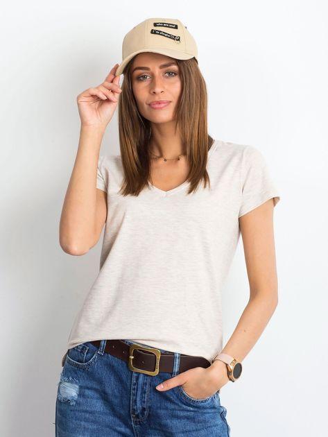 Beżowy melanżowy t-shirt Square
