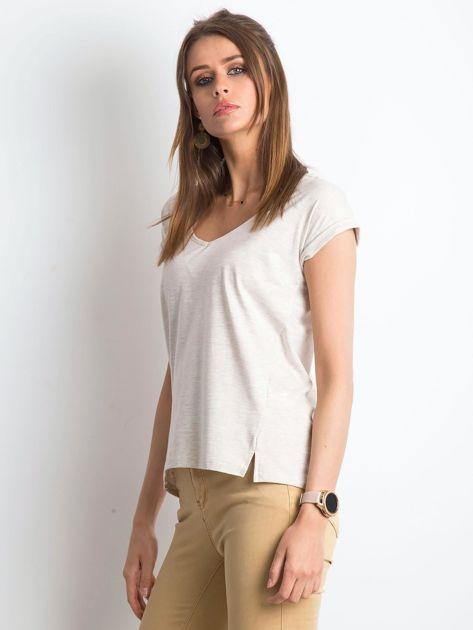 Beżowy melanżowy t-shirt Vibes                              zdj.                              3