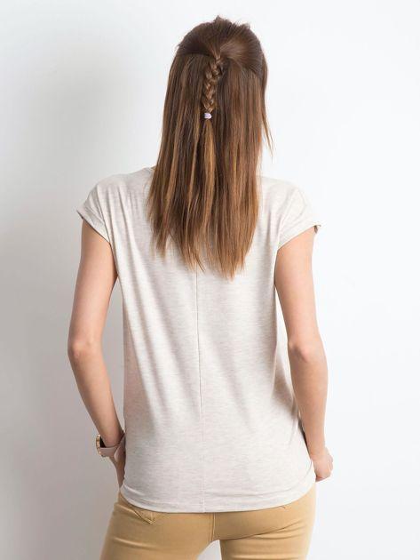 Beżowy melanżowy t-shirt Vibes                              zdj.                              2
