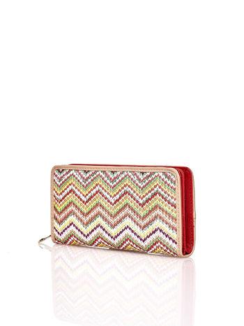 Beżowy pleciony portfel w geometryczne wzory                                  zdj.                                  2