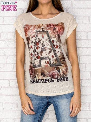 Beżowy siateczkowy t-shirt z literą A z dżetami                                  zdj.                                  1