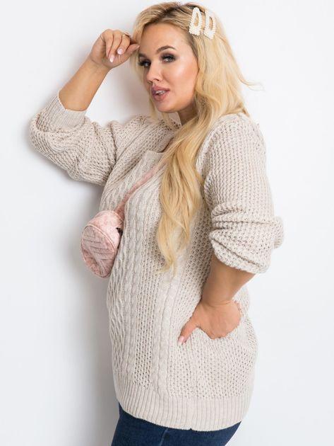Beżowy sweter plus size Tango                              zdj.                              3