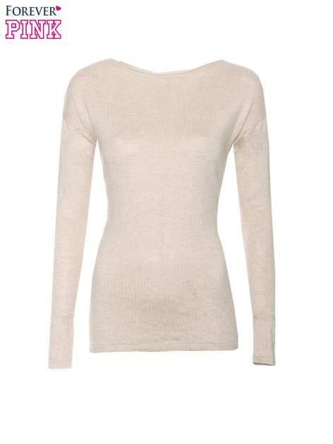 Beżowy sweter z dłuższym tyłem i rozporkami po bokach                                  zdj.                                  5