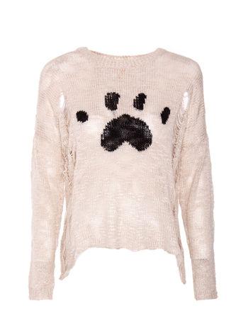 Beżowy sweter ze zwierzęcym nadrukiem i efektem destroyed                                  zdj.                                  1