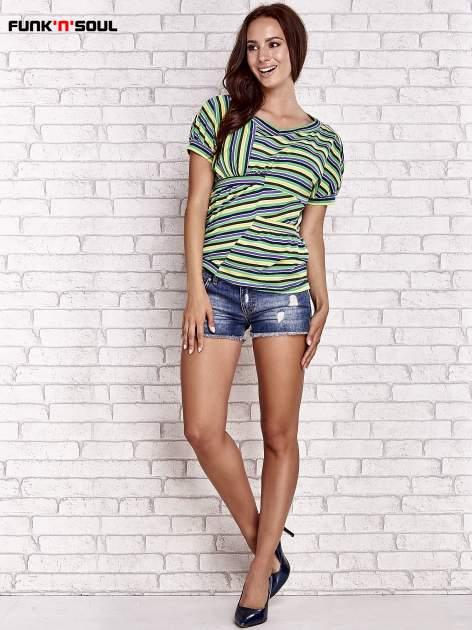 Beżowy t-shirt w kolorowe paski FUNK N SOUL                                  zdj.                                  4