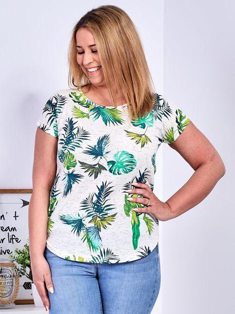Beżowy t-shirt z egzotycznym roślinnym motywem PLUS SIZE                              zdj.                              1