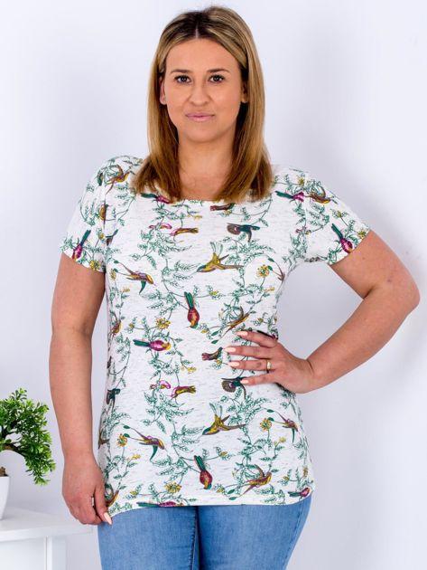 Beżowy t-shirt z motywem ptaków PLUS SIZE                              zdj.                              1