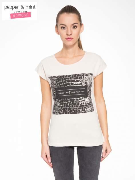 Beżowy t-shirt z motywem zwierzęcym                                  zdj.                                  1