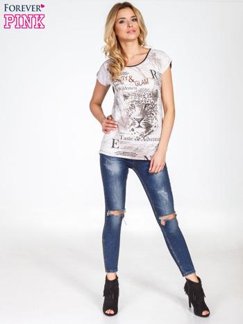 Beżowy t-shirt z nadrukiem tygrysa                                  zdj.                                  8