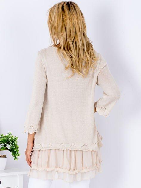 Beżowy warstwowy sweter                               zdj.                              2